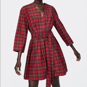 zara red plaid dress size medium